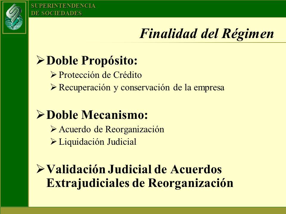 SUPERINTENDENCIA DE SOCIEDADES Finalidad del Régimen Doble Propósito: Protección de Crédito Recuperación y conservación de la empresa Doble Mecanismo: