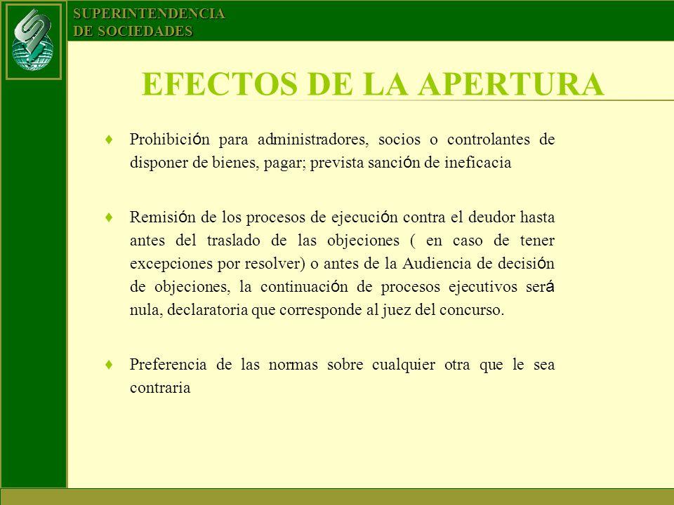 SUPERINTENDENCIA DE SOCIEDADES EFECTOS DE LA APERTURA Prohibici ó n para administradores, socios o controlantes de disponer de bienes, pagar; prevista