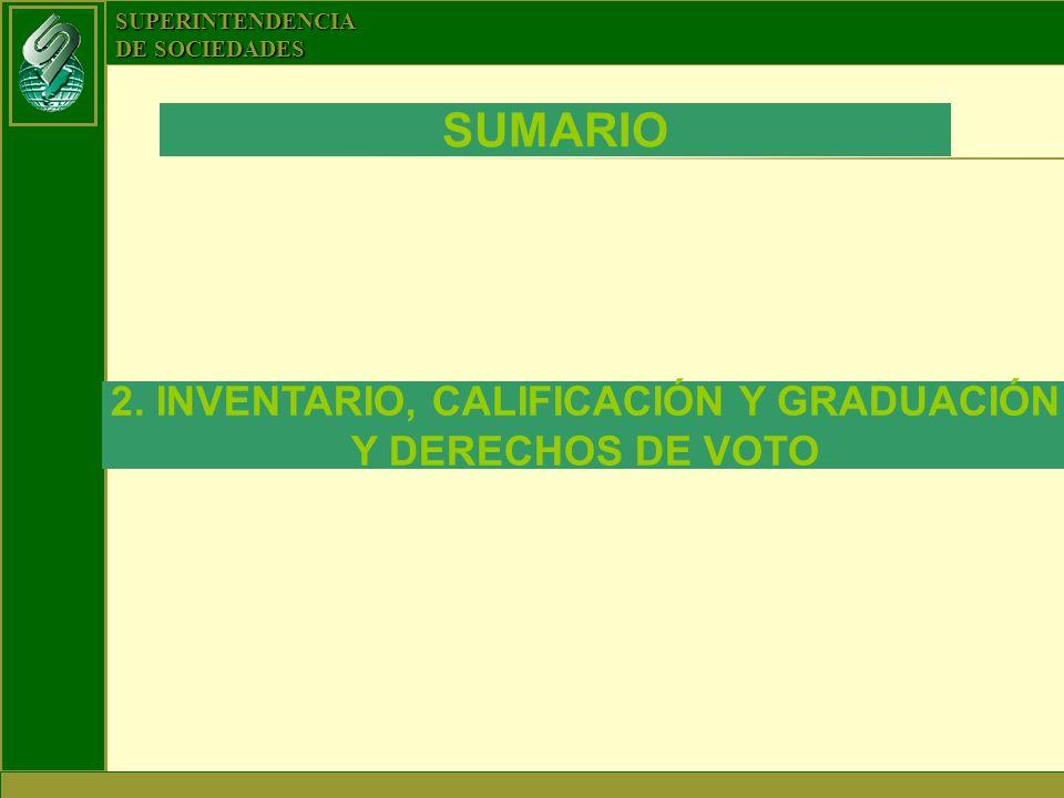 SUPERINTENDENCIA DE SOCIEDADES SUMARIO 2. INVENTARIO, CALIFICACIÓN Y GRADUACIÓN Y DERECHOS DE VOTO