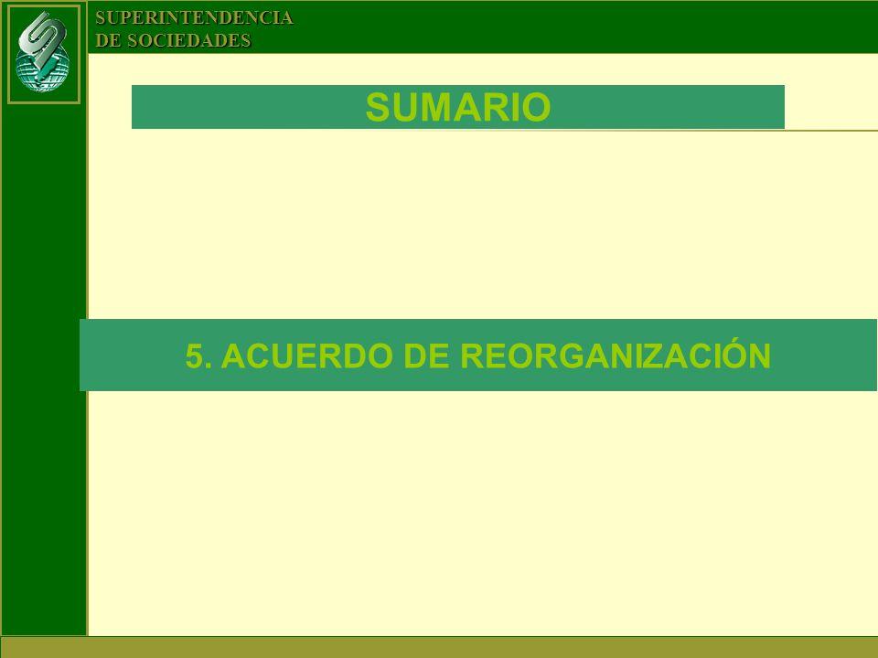 SUPERINTENDENCIA DE SOCIEDADES SUMARIO 5. ACUERDO DE REORGANIZACIÓN