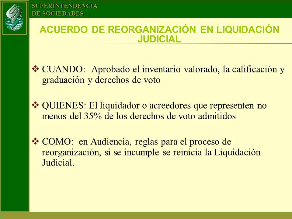 SUPERINTENDENCIA DE SOCIEDADES ACUERDO DE REORGANIZACIÓN EN LIQUIDACIÓN JUDICIAL CUANDO: Aprobado el inventario valorado, la calificación y graduación