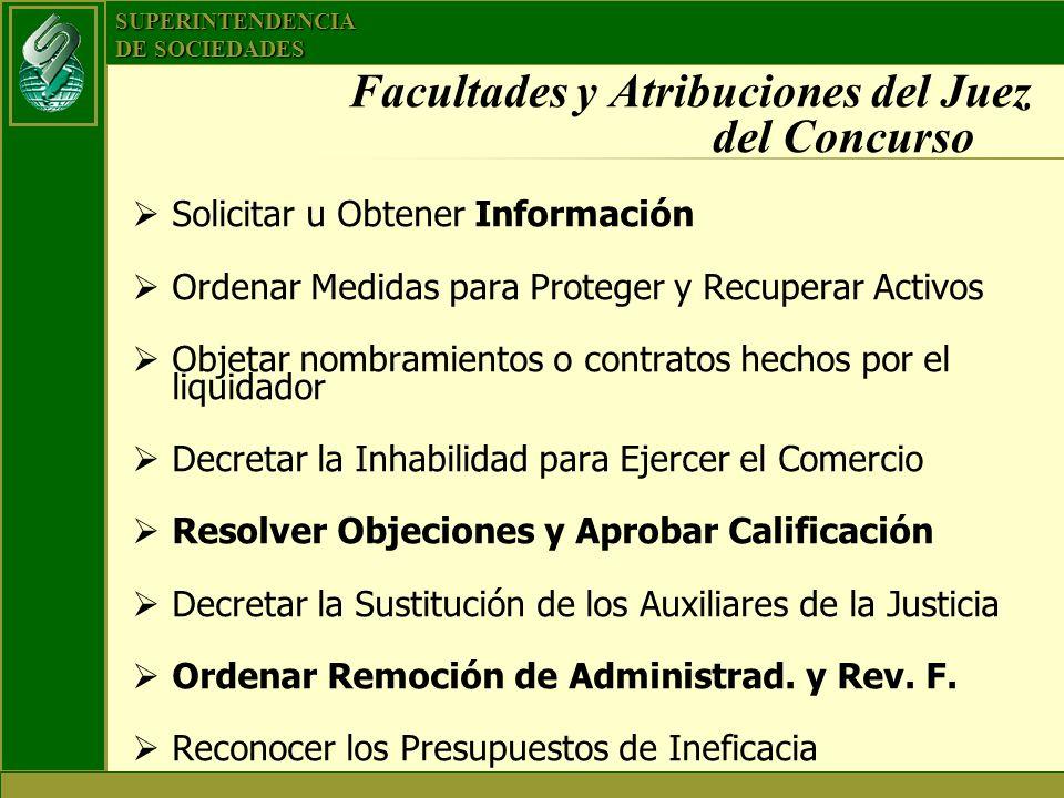 SUPERINTENDENCIA DE SOCIEDADES Facultades y Atribuciones del Juez del Concurso Solicitar u Obtener Información Ordenar Medidas para Proteger y Recuper