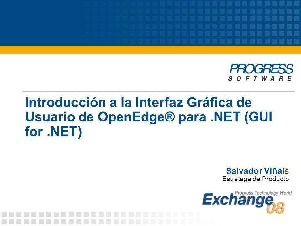 Salvador Viñals Estratega de Producto Introducción a la Interfaz Gráfica de Usuario de OpenEdge® para.NET (GUI for.NET)