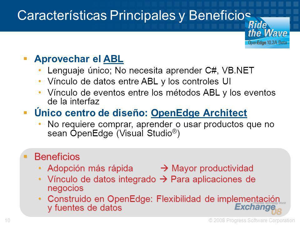 © 2008 Progress Software Corporation10 Aprovechar el ABL Lenguaje único; No necesita aprender C#, VB.NET Vínculo de datos entre ABL y los controles UI