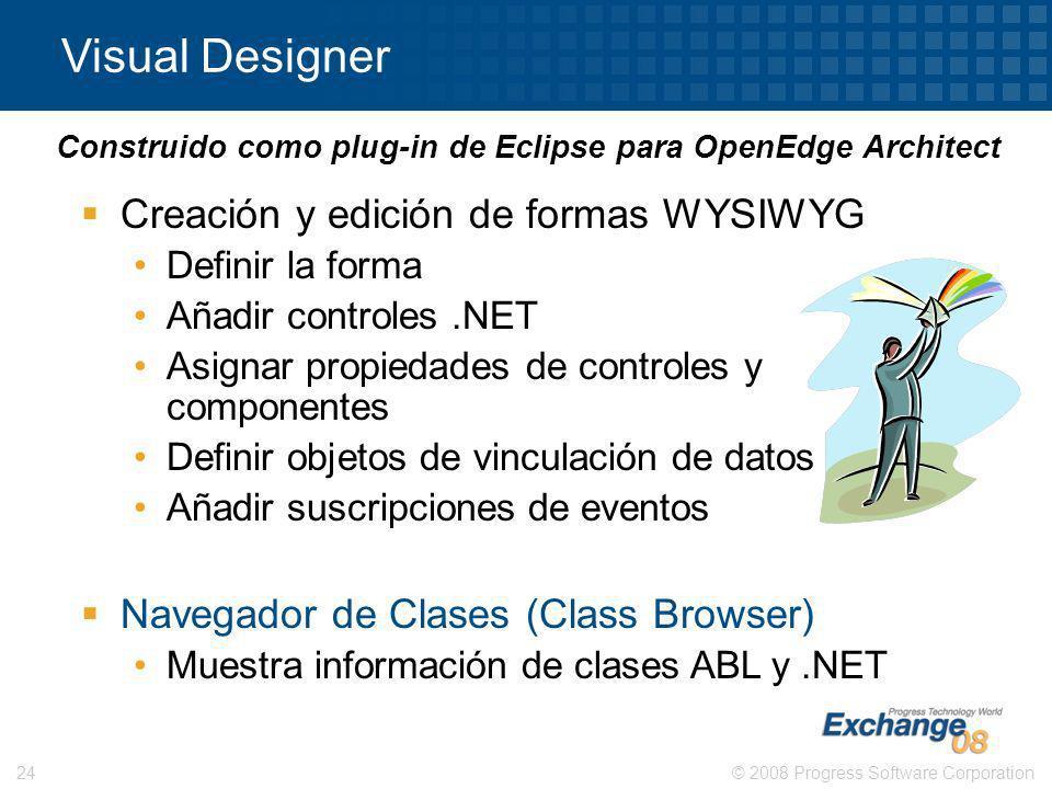 © 2008 Progress Software Corporation24 Creación y edición de formas WYSIWYG Definir la forma Añadir controles.NET Asignar propiedades de controles y c
