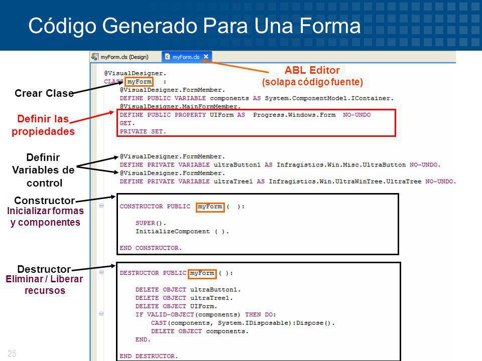 © 2008 Progress Software Corporation25 Código Generado Para Una Forma Crear Clase ABL Editor (solapa código fuente) Definir las propiedades Definir Va