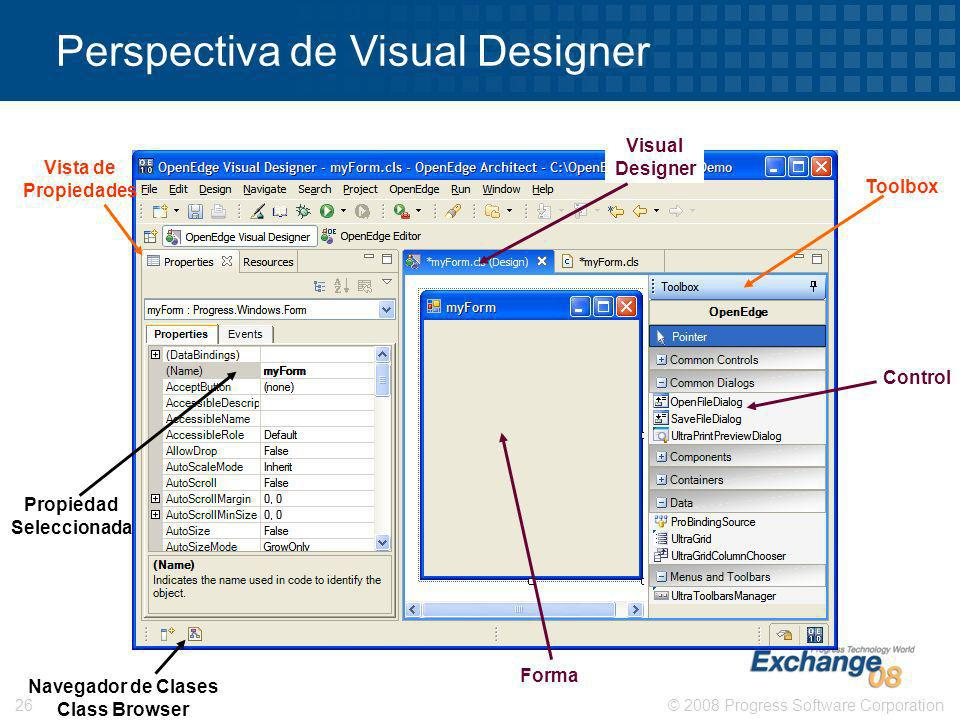 © 2008 Progress Software Corporation26 Perspectiva de Visual Designer Toolbox Vista de Propiedades Propiedad Seleccionada Forma Visual Designer Contro