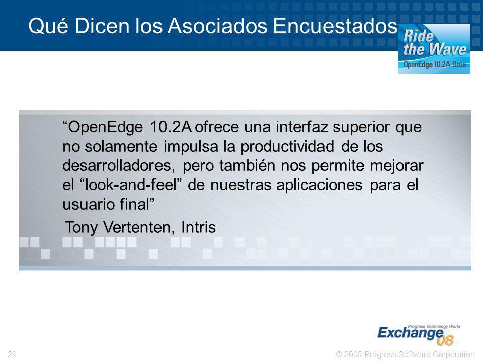 © 2008 Progress Software Corporation29 Qué Dicen los Asociados Encuestados… Tony Vertenten, Intris OpenEdge 10.2A ofrece una interfaz superior que no