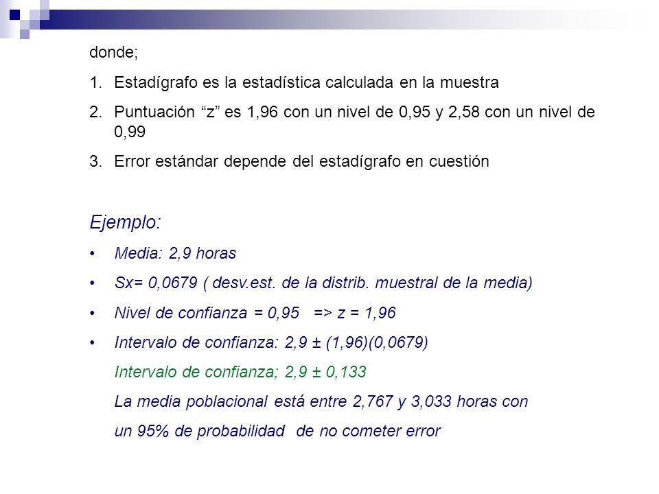donde; 1.Estadígrafo es la estadística calculada en la muestra 2.Puntuación z es 1,96 con un nivel de 0,95 y 2,58 con un nivel de 0,99 3.Error estánda