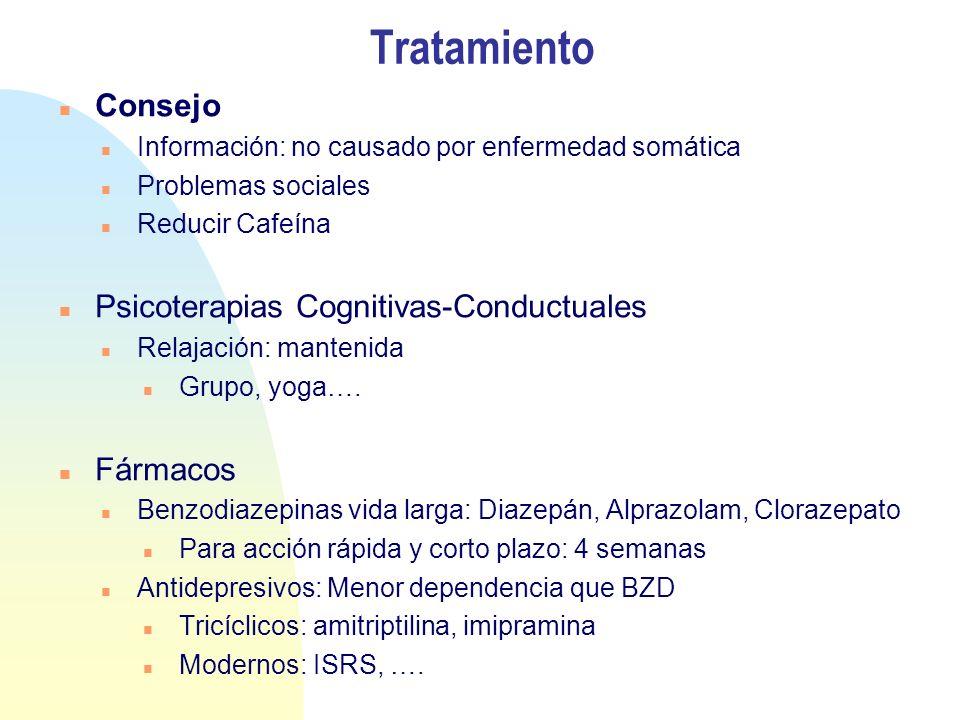 Tratamiento Consejo Información: no causado por enfermedad somática Problemas sociales Reducir Cafeína Psicoterapias Cognitivas-Conductuales Relajació
