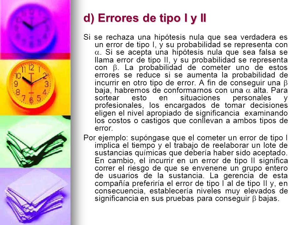 d) Errores de tipo I y II Si se rechaza una hipótesis nula que sea verdadera es un error de tipo I, y su probabilidad se representa con. Si se acepta