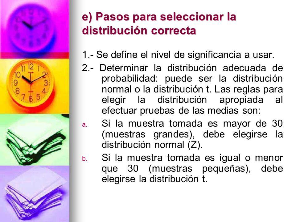 e) Pasos para seleccionar la distribución correcta 1.- Se define el nivel de significancia a usar. 2.- Determinar la distribución adecuada de probabil