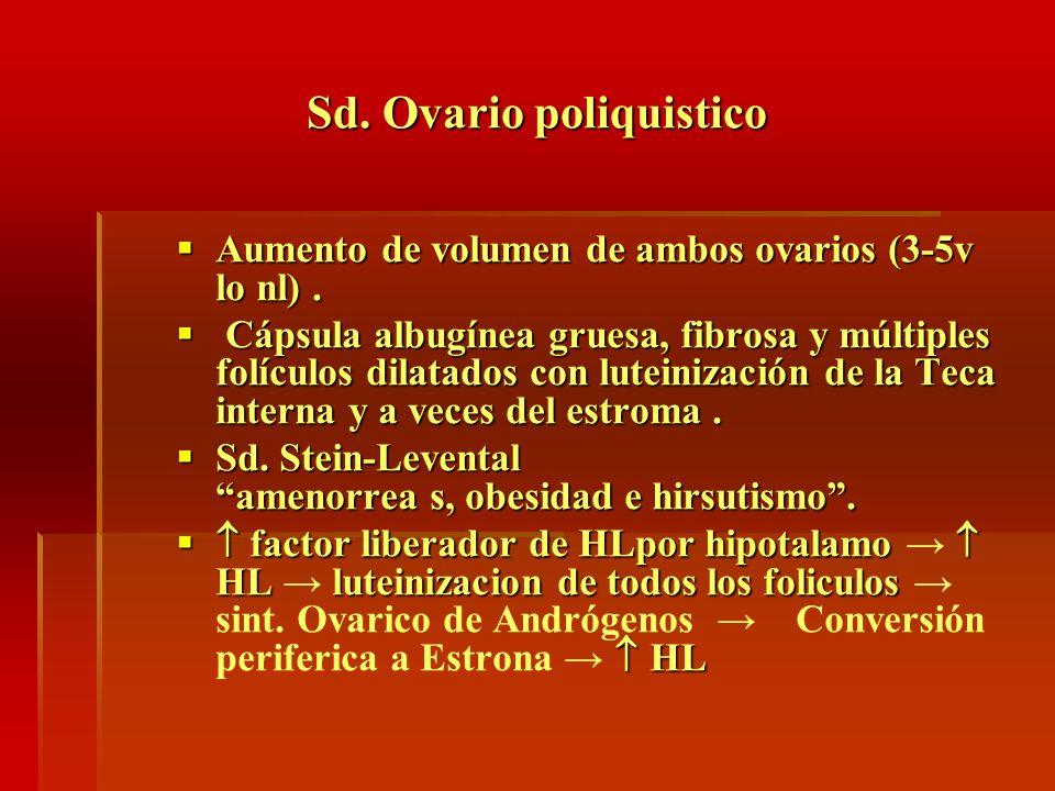 Sd. Ovario poliquistico Aumento de volumen de ambos ovarios (3-5v lo nl). Aumento de volumen de ambos ovarios (3-5v lo nl). Cápsula albugínea gruesa,