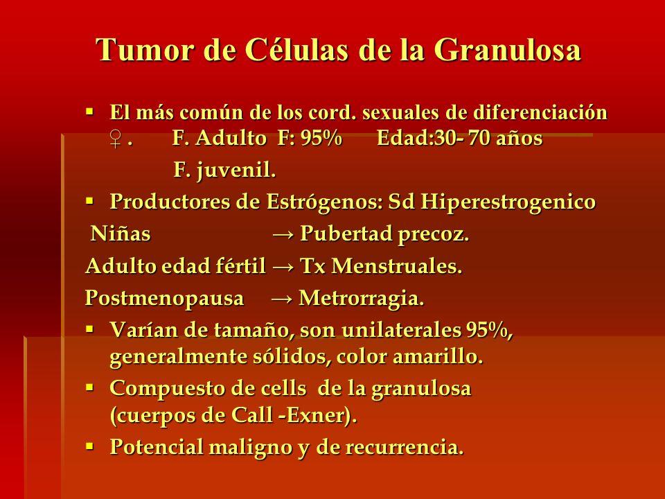 Tumor de Células de la Granulosa El más común de los cord. sexuales de diferenciación. F. Adulto F: 95% Edad:30- 70 años El más común de los cord. sex