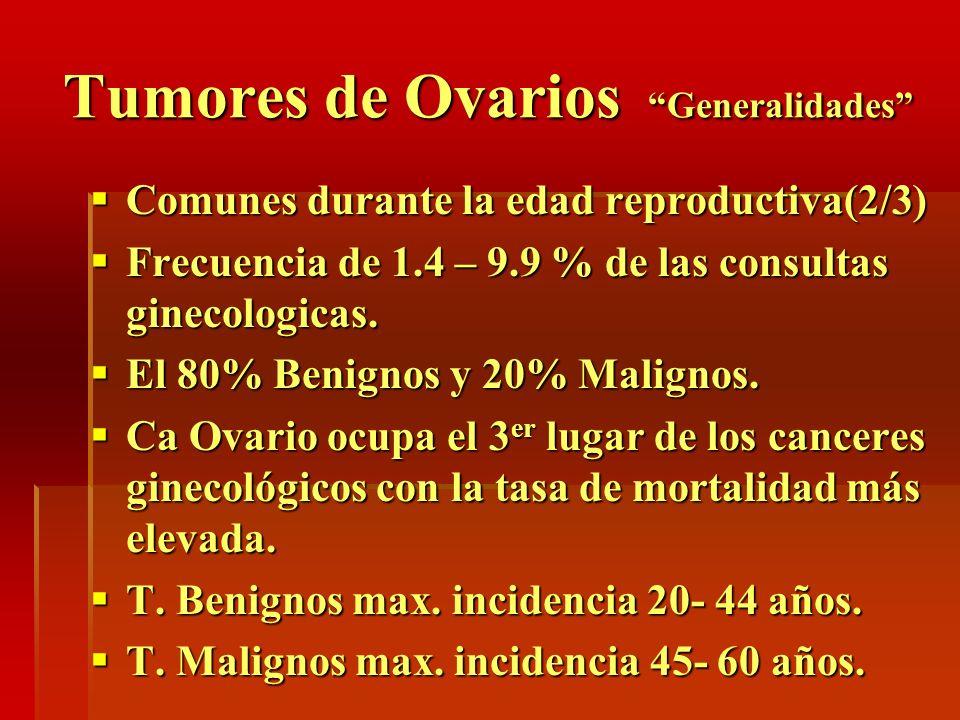 Tumores de Ovarios Generalidades Comunes durante la edad reproductiva(2/3) Comunes durante la edad reproductiva(2/3) Frecuencia de 1.4 – 9.9 % de las