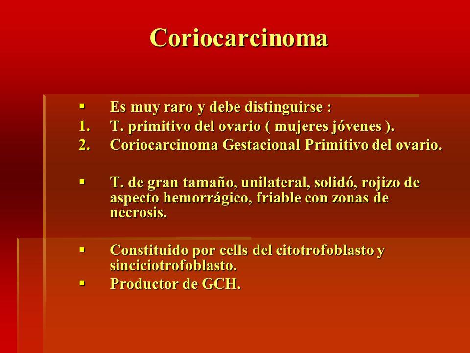 Coriocarcinoma Es muy raro y debe distinguirse : Es muy raro y debe distinguirse : 1.T. primitivo del ovario ( mujeres jóvenes ). 2.Coriocarcinoma Ges