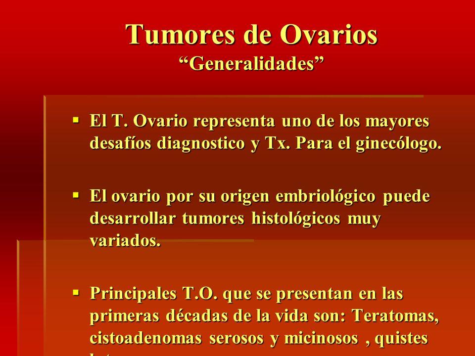 Tumores de Ovarios Generalidades El T. Ovario representa uno de los mayores desafíos diagnostico y Tx. Para el ginecólogo. El T. Ovario representa uno