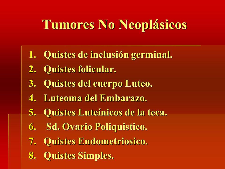 Tumores No Neoplásicos 1.Quistes de inclusión germinal. 2.Quistes folicular. 3.Quistes del cuerpo Luteo. 4.Luteoma del Embarazo. 5.Quistes Luteínicos