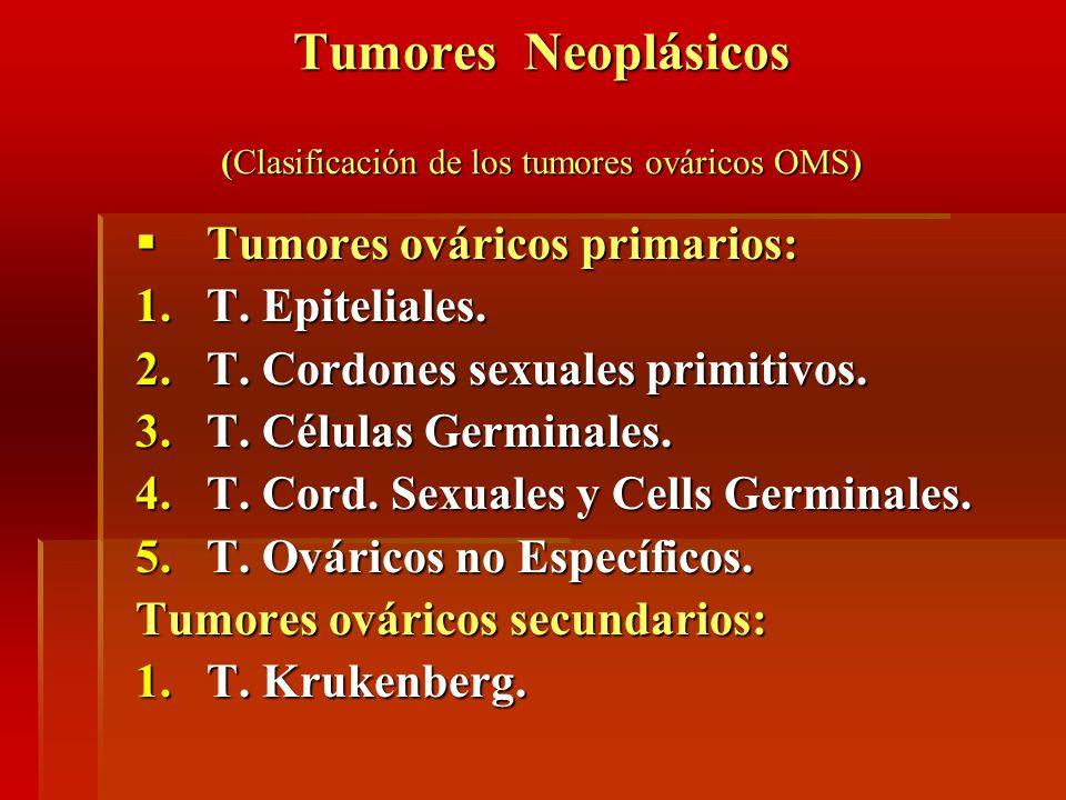Tumores Neoplásicos (Clasificación de los tumores ováricos OMS) Tumores ováricos primarios: Tumores ováricos primarios: 1.T. Epiteliales. 2.T. Cordone