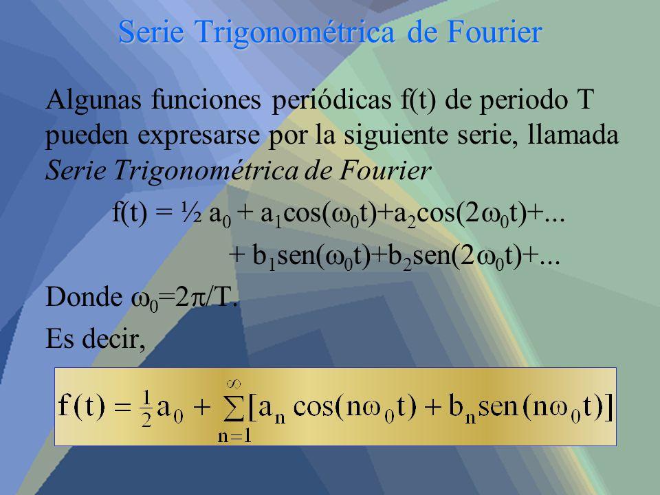 Serie Trigonométrica de Fourier Algunas funciones periódicas f(t) de periodo T pueden expresarse por la siguiente serie, llamada Serie Trigonométrica