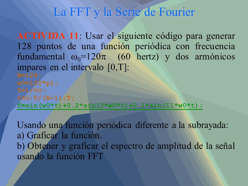 La FFT y la Serie de Fourier ACTIVIDA 11: Usar el siguiente código para generar 128 puntos de una función periódica con frecuencia fundamental 0 =120