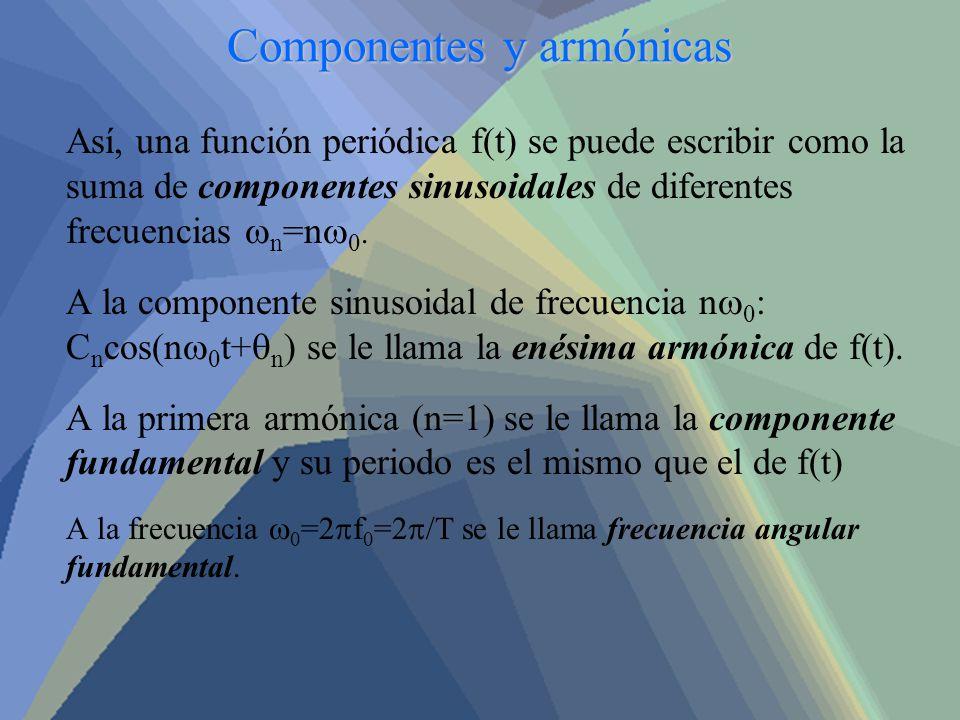 Componentes y armónicas Así, una función periódica f(t) se puede escribir como la suma de componentes sinusoidales de diferentes frecuencias n =n 0. A