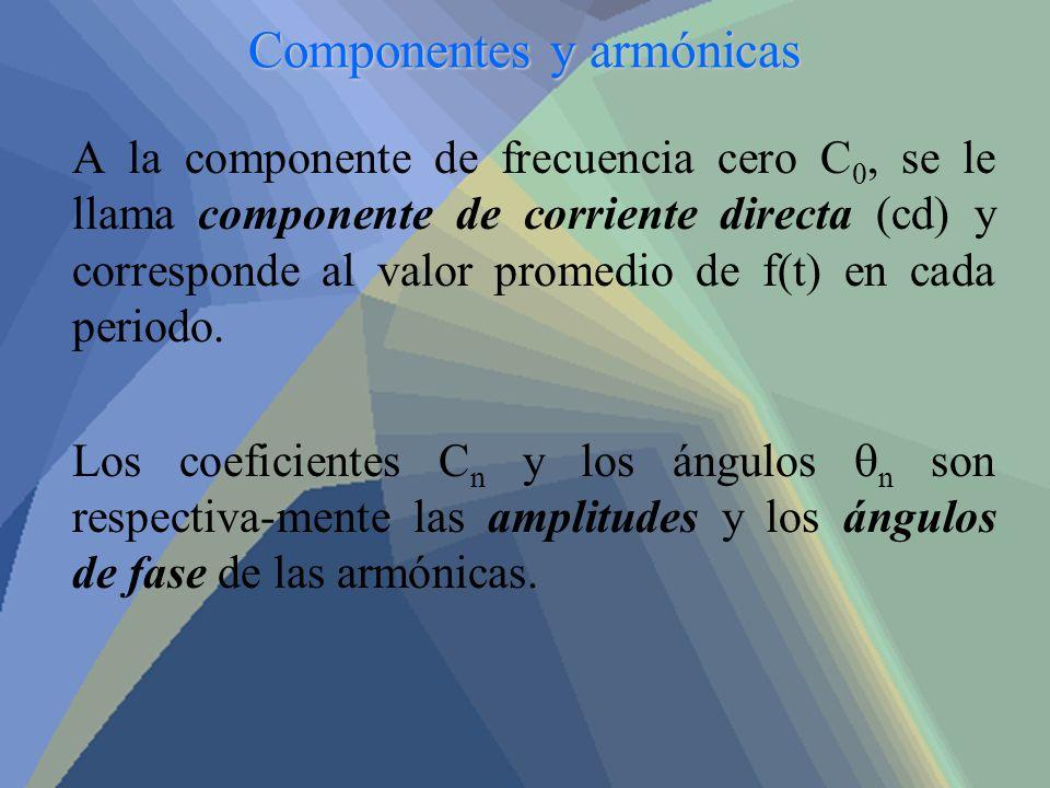 Componentes y armónicas A la componente de frecuencia cero C 0, se le llama componente de corriente directa (cd) y corresponde al valor promedio de f(