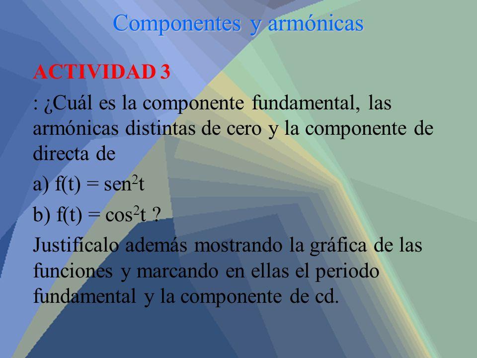 Componentes y armónicas ACTIVIDAD 3 : ¿Cuál es la componente fundamental, las armónicas distintas de cero y la componente de directa de a) f(t) = sen