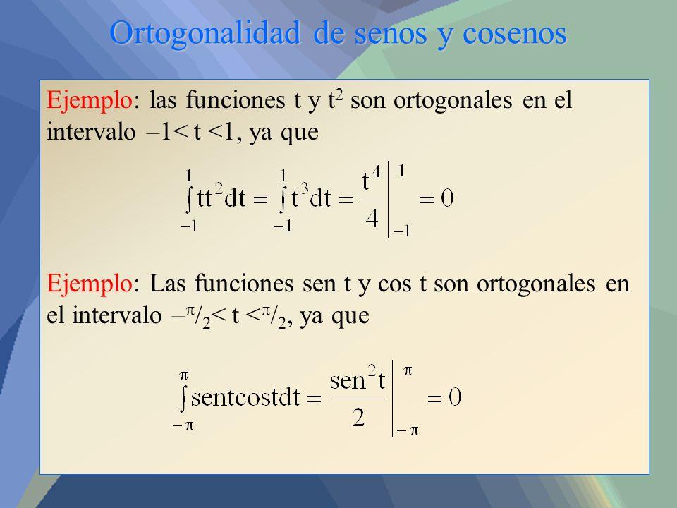 Ortogonalidad de senos y cosenos Ejemplo: las funciones t y t 2 son ortogonales en el intervalo –1< t <1, ya que Ejemplo: Las funciones sen t y cos t