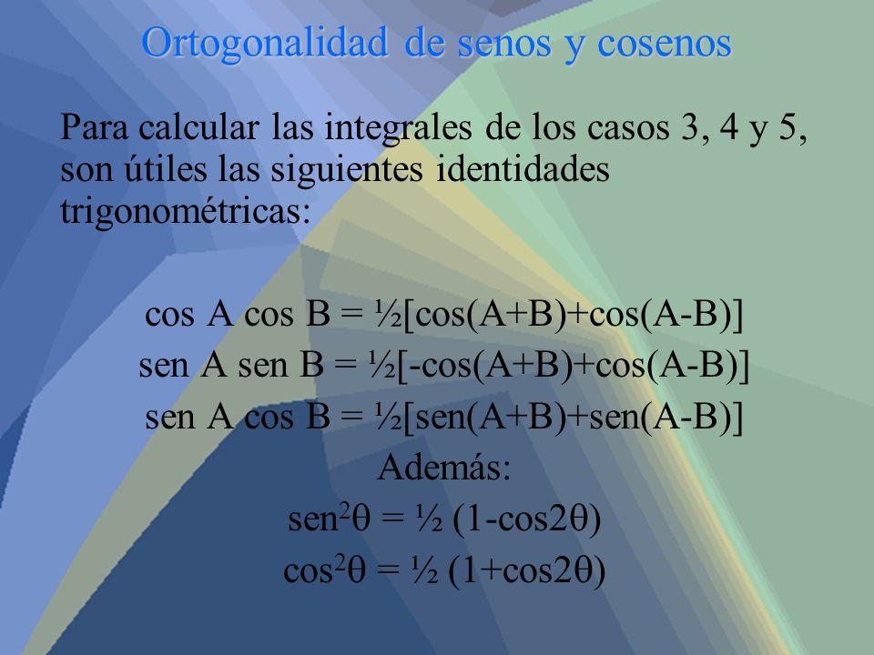 Ortogonalidad de senos y cosenos Para calcular las integrales de los casos 3, 4 y 5, son útiles las siguientes identidades trigonométricas: cos A cos