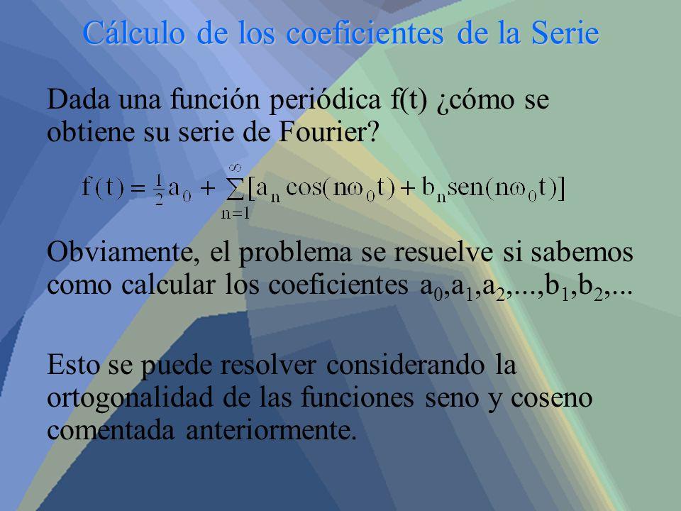 Cálculo de los coeficientes de la Serie Dada una función periódica f(t) ¿cómo se obtiene su serie de Fourier? Obviamente, el problema se resuelve si s
