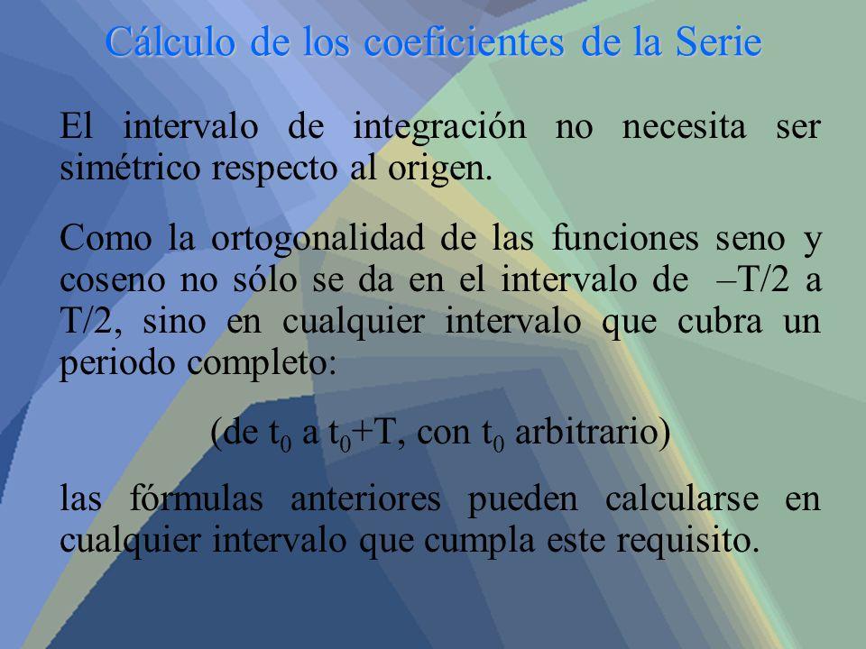 Cálculo de los coeficientes de la Serie El intervalo de integración no necesita ser simétrico respecto al origen. Como la ortogonalidad de las funcion