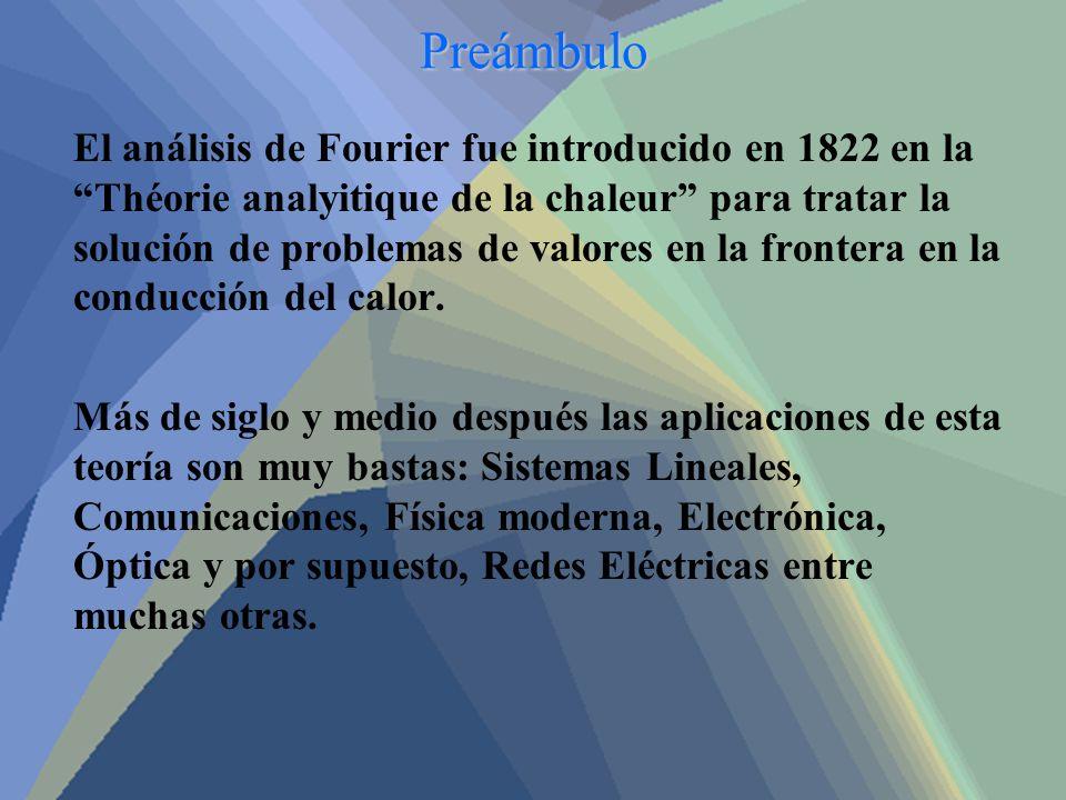 Preámbulo El análisis de Fourier fue introducido en 1822 en la Théorie analyitique de la chaleur para tratar la solución de problemas de valores en la