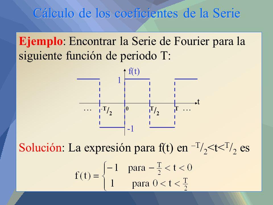 Cálculo de los coeficientes de la Serie Ejemplo: Encontrar la Serie de Fourier para la siguiente función de periodo T: Solución: La expresión para f(t