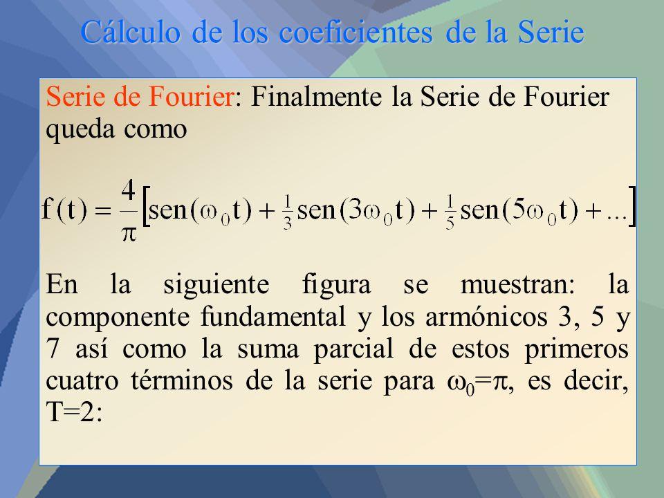 Cálculo de los coeficientes de la Serie Serie de Fourier: Finalmente la Serie de Fourier queda como En la siguiente figura se muestran: la componente