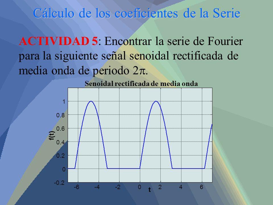 Cálculo de los coeficientes de la Serie ACTIVIDAD 5: Encontrar la serie de Fourier para la siguiente señal senoidal rectificada de media onda de perio
