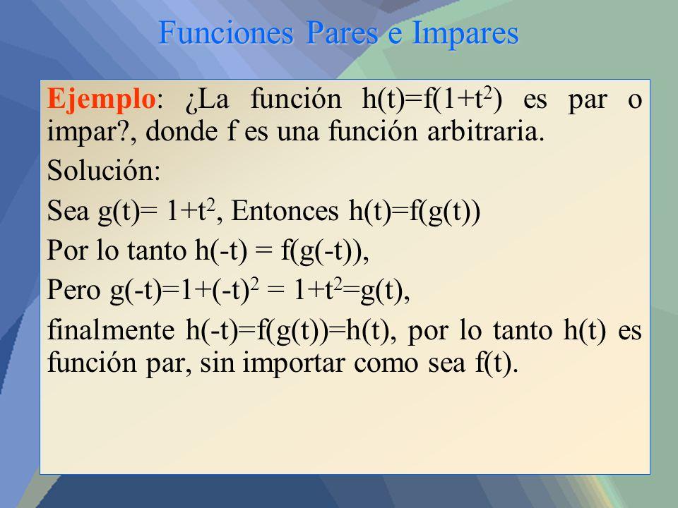 Funciones Pares e Impares Ejemplo: ¿La función h(t)=f(1+t 2 ) es par o impar?, donde f es una función arbitraria. Solución: Sea g(t)= 1+t 2, Entonces