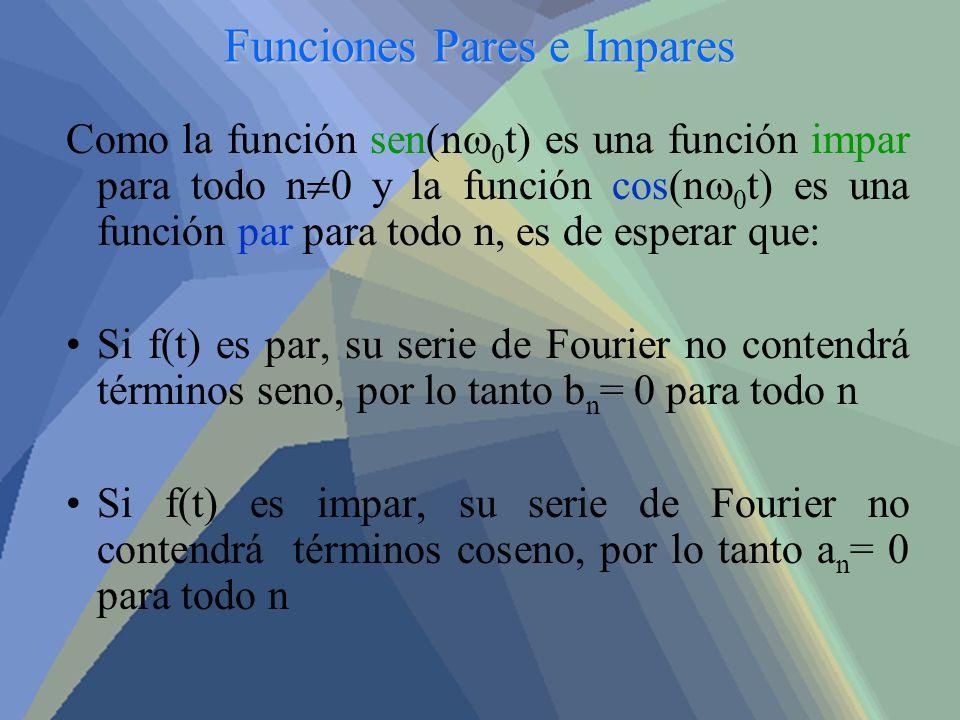 Funciones Pares e Impares Como la función sen(n 0 t) es una función impar para todo n 0 y la función cos(n 0 t) es una función par para todo n, es de