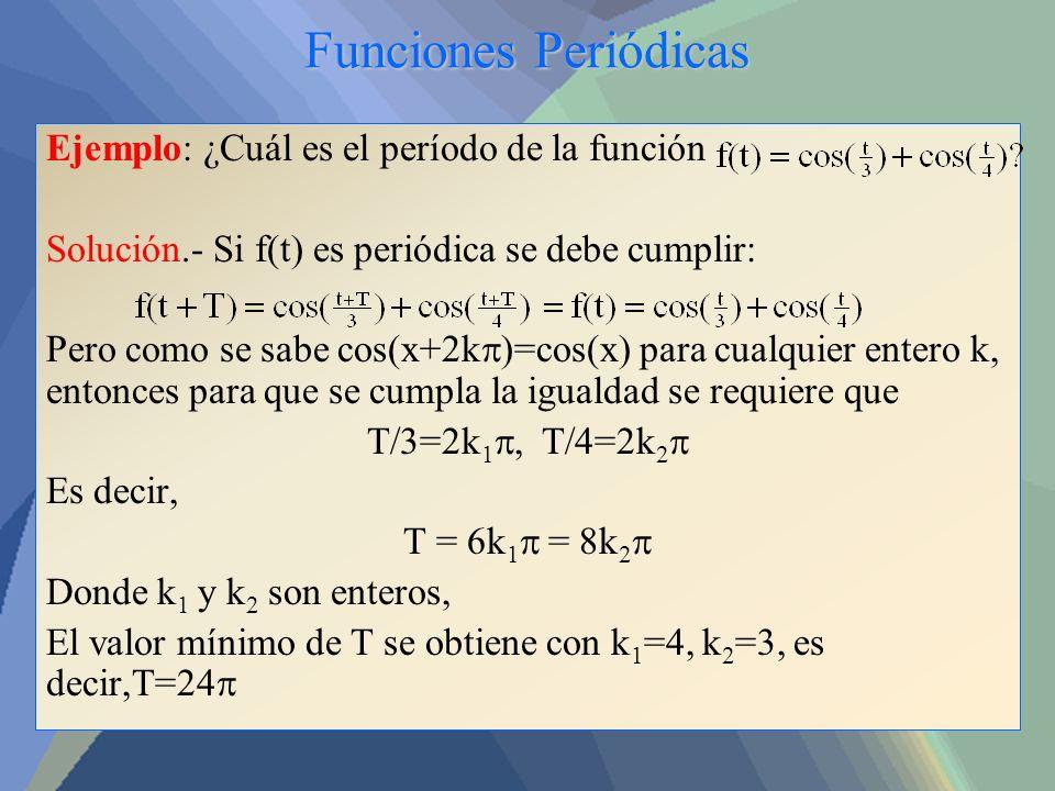 Funciones Periódicas Ejemplo: ¿Cuál es el período de la función Solución.- Si f(t) es periódica se debe cumplir: Pero como se sabe cos(x+2k )=cos(x) p