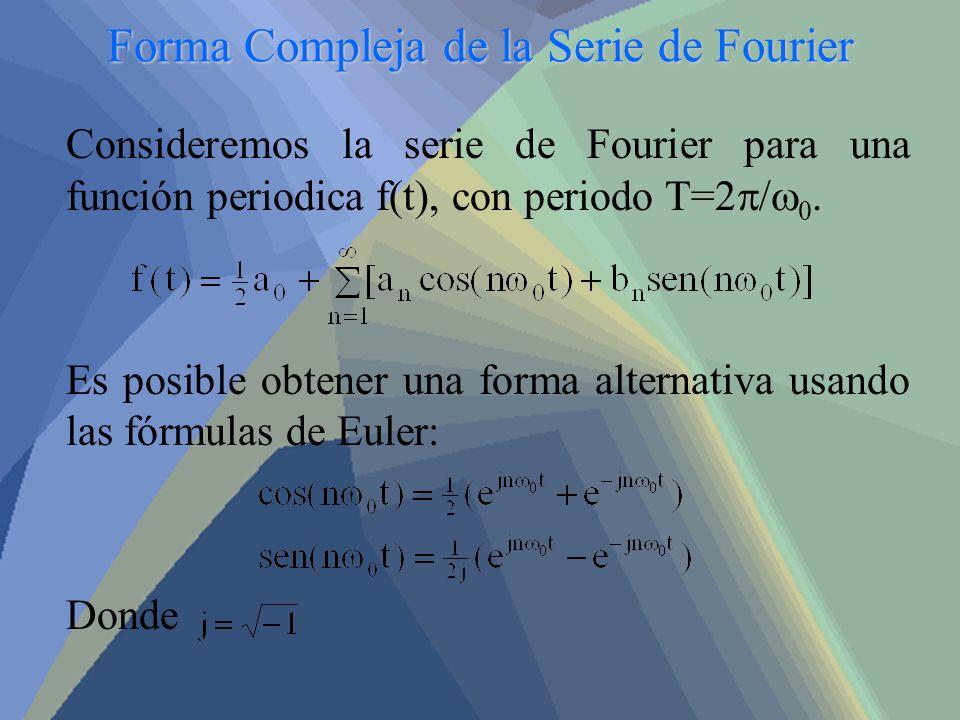 Forma Compleja de la Serie de Fourier Consideremos la serie de Fourier para una función periodica f(t), con periodo T=2 / 0. Es posible obtener una fo