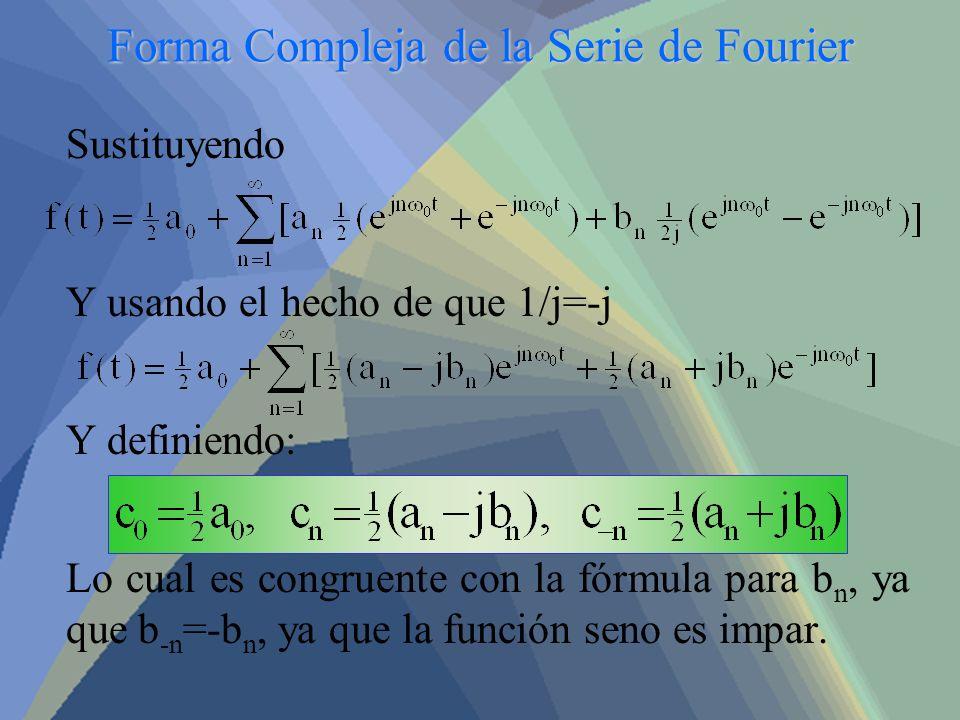 Forma Compleja de la Serie de Fourier Sustituyendo Y usando el hecho de que 1/j=-j Y definiendo: Lo cual es congruente con la fórmula para b n, ya que