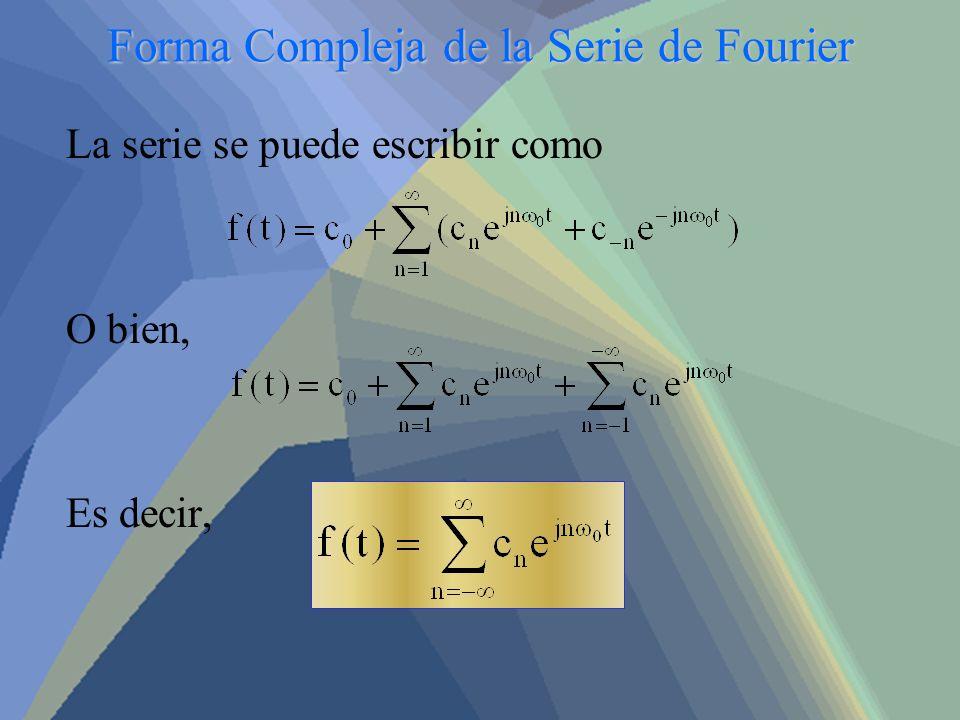 Forma Compleja de la Serie de Fourier La serie se puede escribir como O bien, Es decir,