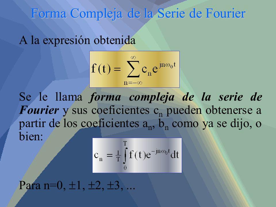 Forma Compleja de la Serie de Fourier A la expresión obtenida Se le llama forma compleja de la serie de Fourier y sus coeficientes c n pueden obteners