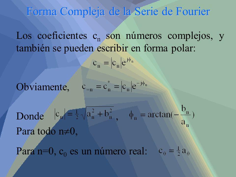 Forma Compleja de la Serie de Fourier Los coeficientes c n son números complejos, y también se pueden escribir en forma polar: Obviamente, Donde, Para