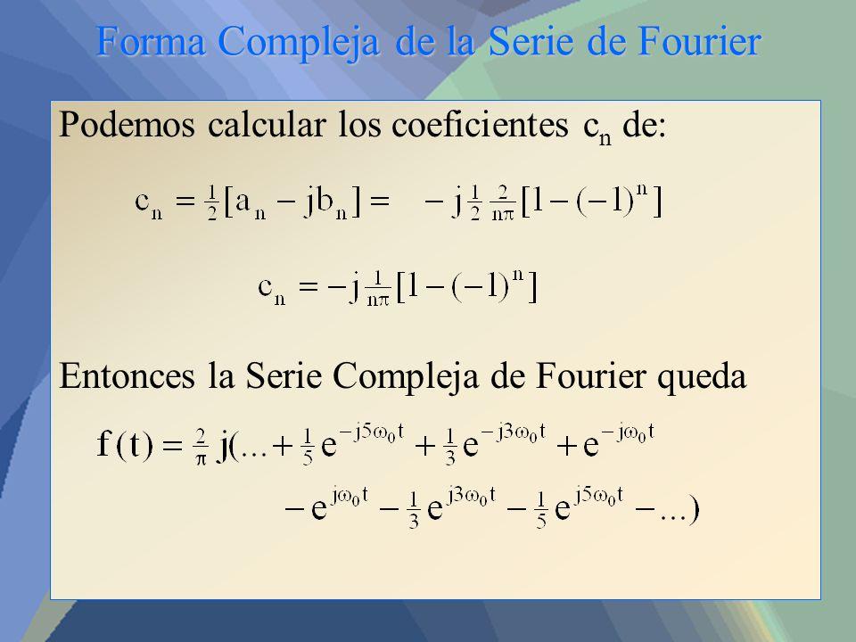 Forma Compleja de la Serie de Fourier Podemos calcular los coeficientes c n de: Entonces la Serie Compleja de Fourier queda