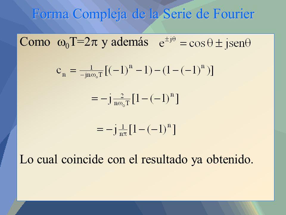 Forma Compleja de la Serie de Fourier Como 0 T=2 y además Lo cual coincide con el resultado ya obtenido.