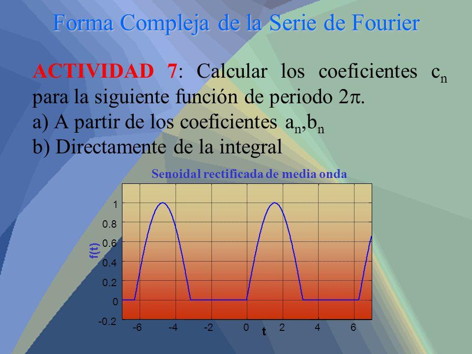 Forma Compleja de la Serie de Fourier ACTIVIDAD 7: Calcular los coeficientes c n para la siguiente función de periodo 2. a) A partir de los coeficient