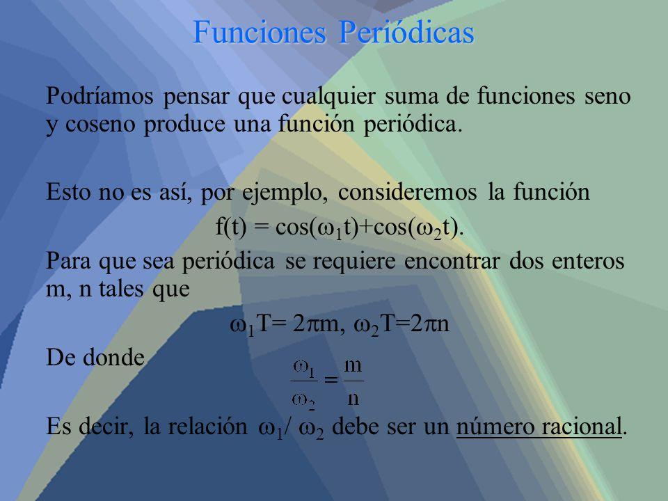 Funciones Periódicas Podríamos pensar que cualquier suma de funciones seno y coseno produce una función periódica. Esto no es así, por ejemplo, consid