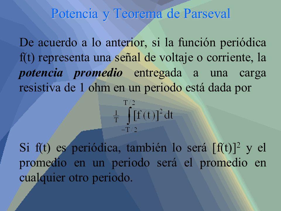 Potencia y Teorema de Parseval De acuerdo a lo anterior, si la función periódica f(t) representa una señal de voltaje o corriente, la potencia promedi