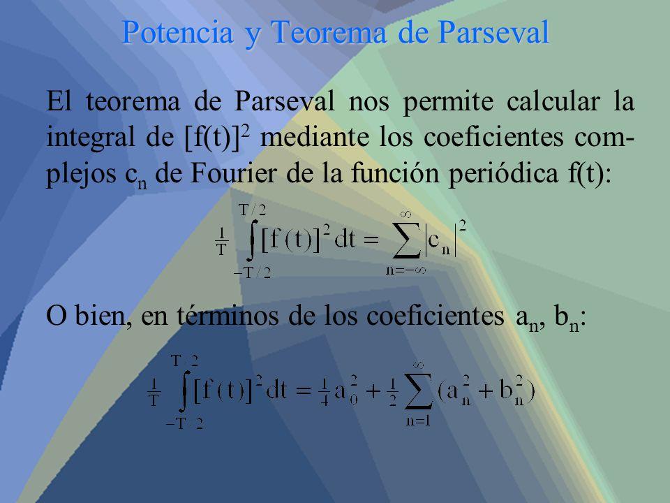 Potencia y Teorema de Parseval El teorema de Parseval nos permite calcular la integral de [f(t)] 2 mediante los coeficientes com- plejos c n de Fourie